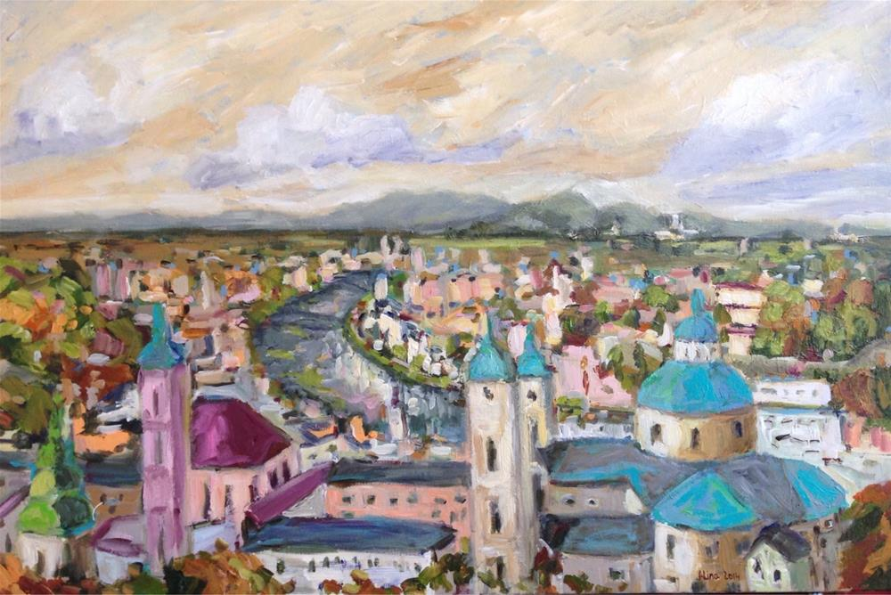 """View in Salzburg"" original fine art by Alina Vidulescu"