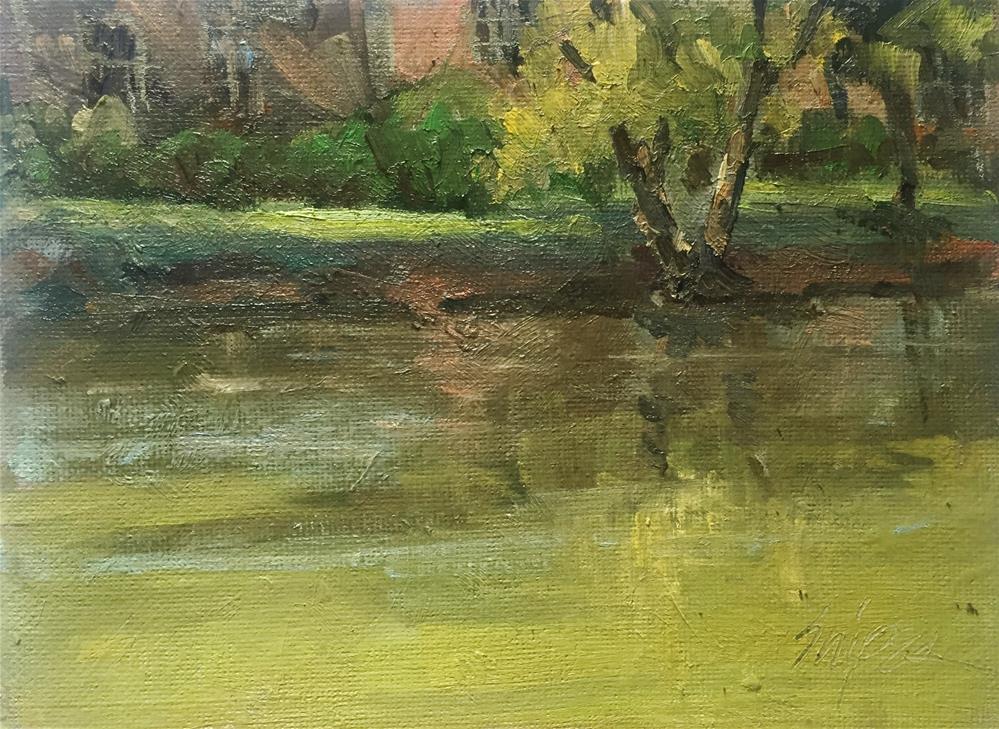 """Neighborhood Pond"" original fine art by Connie Snipes"