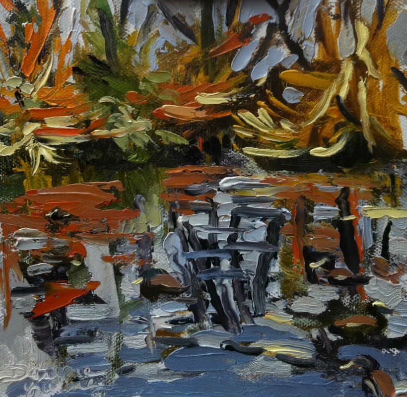 """""""The Pond, oil on Ray mar, 6x6"""" original fine art by Darlene Young"""