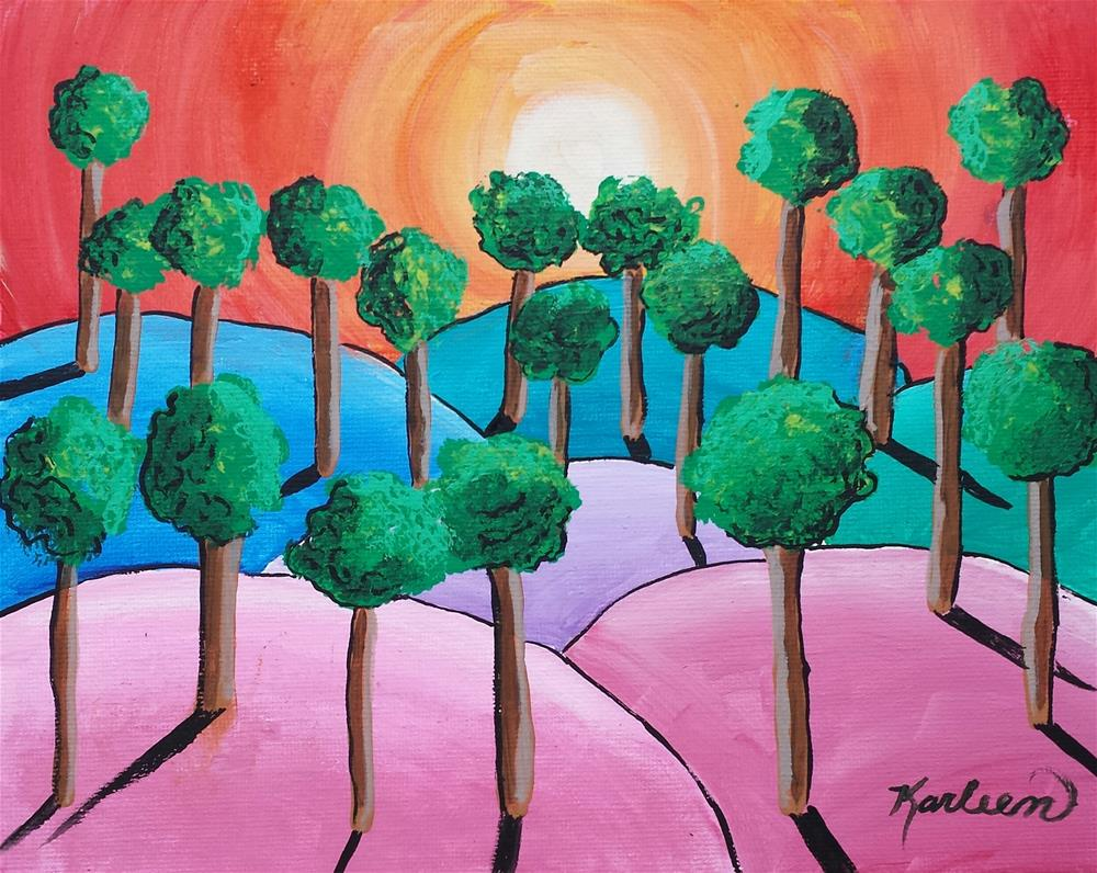"""""""Trees in the Sunset"""" original fine art by Karleen Kareem"""