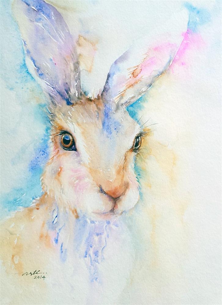 """Jazzy_ Hare Portrait"" original fine art by Arti Chauhan"