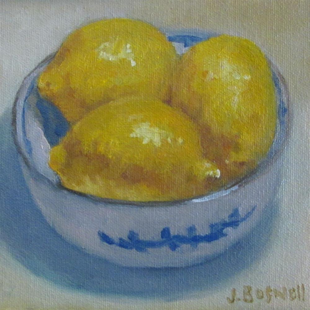 """""""Lemons in Blue and White Bowl"""" original fine art by Jennifer Boswell"""