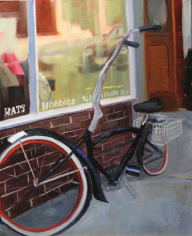 """""""Bicycle by the Window"""" original fine art by Jane Frederick"""
