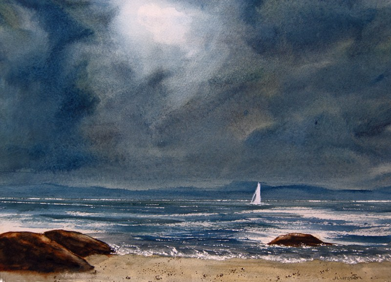 """Stormy Sky Over The Bay"" original fine art by Jean Lurssen"