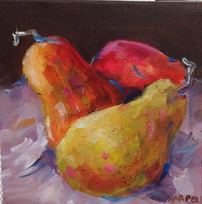 """""""Original oil pear fruit food art still life painting"""" original fine art by Alice Harpel"""