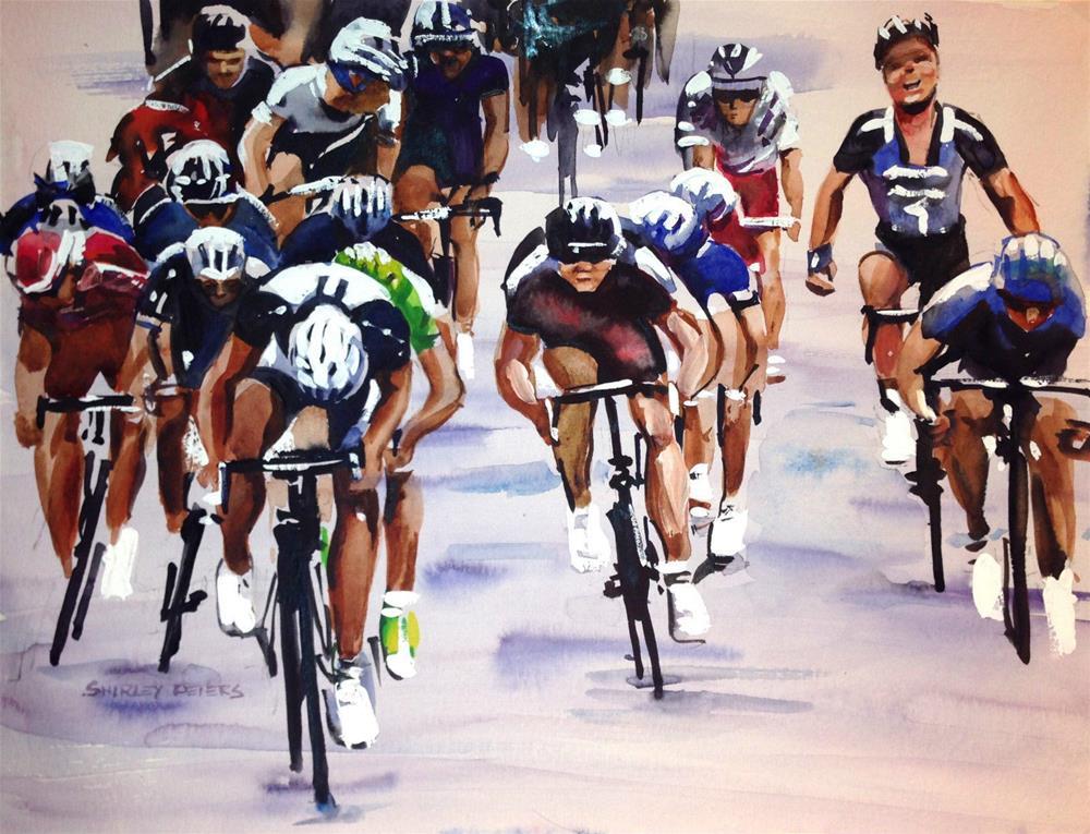 """Giant-Shimano Team Joy"" original fine art by Shirley Peters"