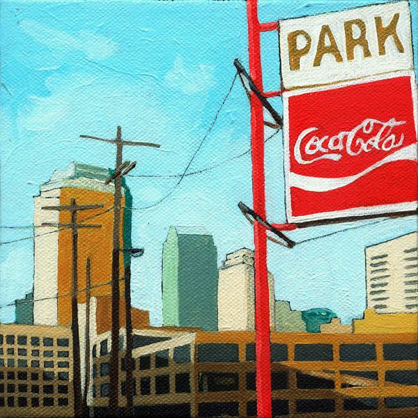 """Coca Cola Park - summer special"" original fine art by Linda Apple"
