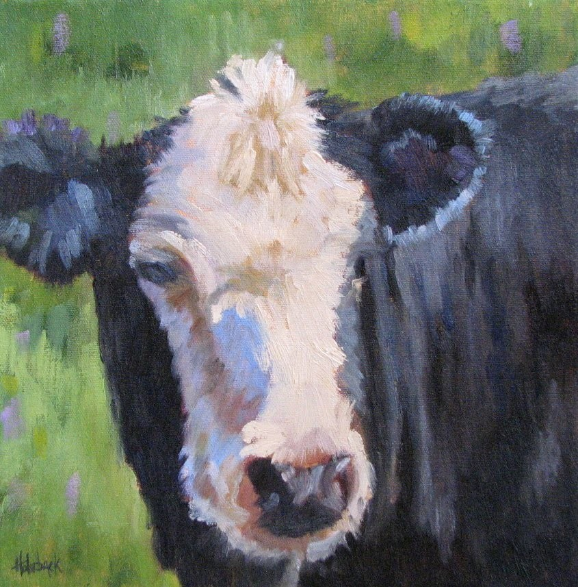 """Blue Bovine"" original fine art by Pam Holnback"