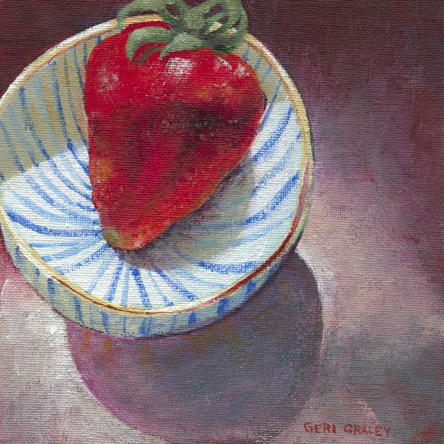 """Big Strawberry, Teeny Bowl"" original fine art by Geri Graley"