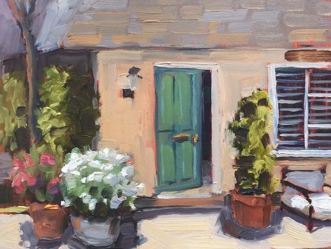 """""""Green Door Cottage"""" original fine art by Deborah Newman"""