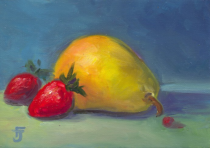 """Pear and Strawberries"" original fine art by Francine Dufour~Jones"
