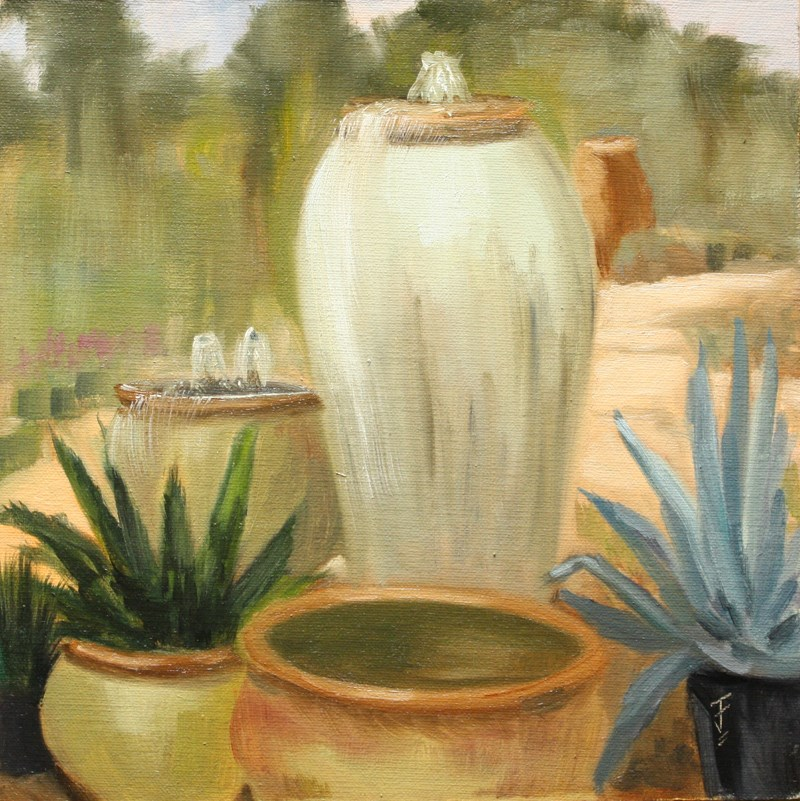 """""""Potted Fountains"""" original fine art by Jane Frederick"""