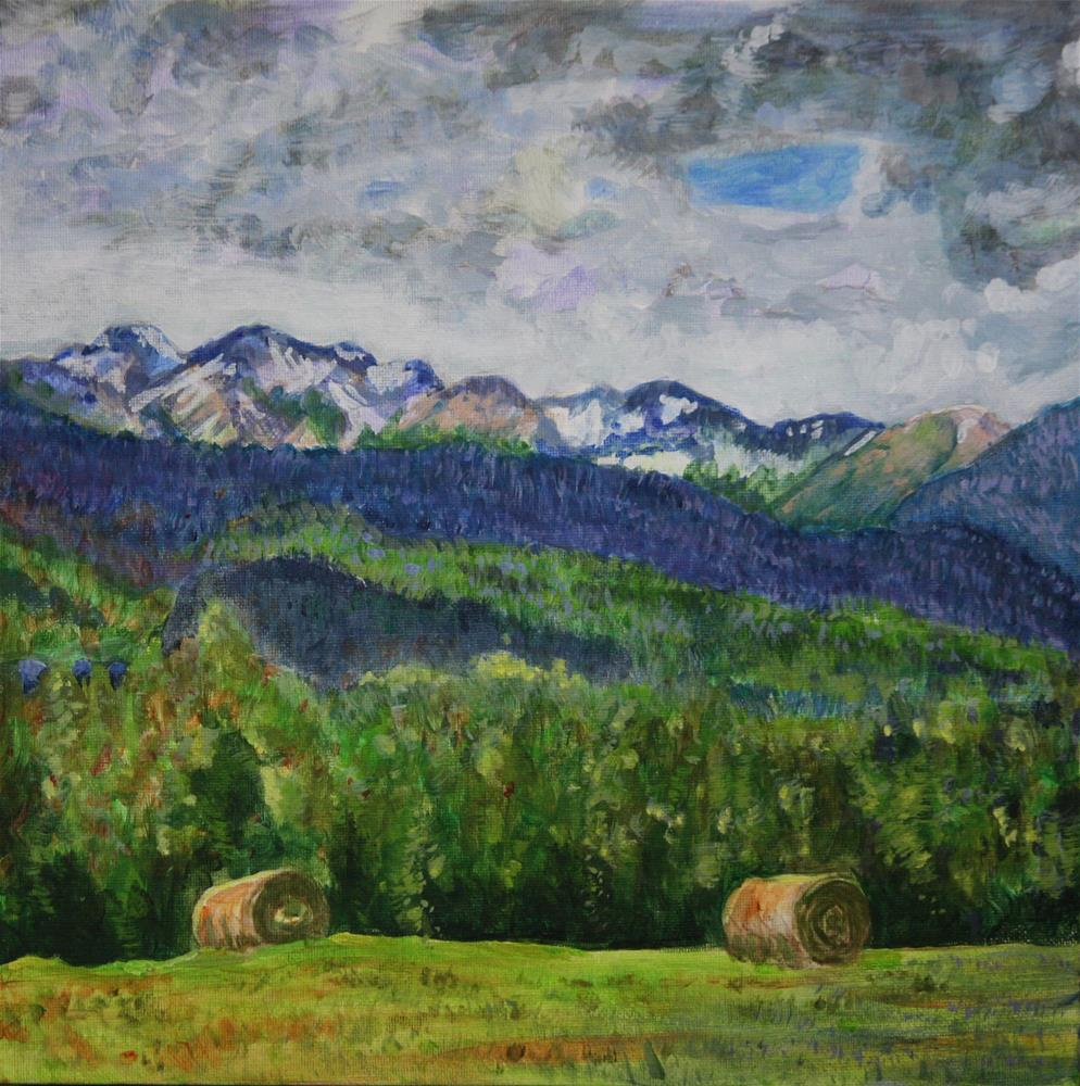 """""""Round Bales on the High Road"""" original fine art by Terri-Anne Barge"""