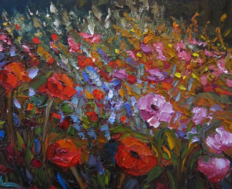 """POPPY GARDEN"" original fine art by Dee Sanchez"