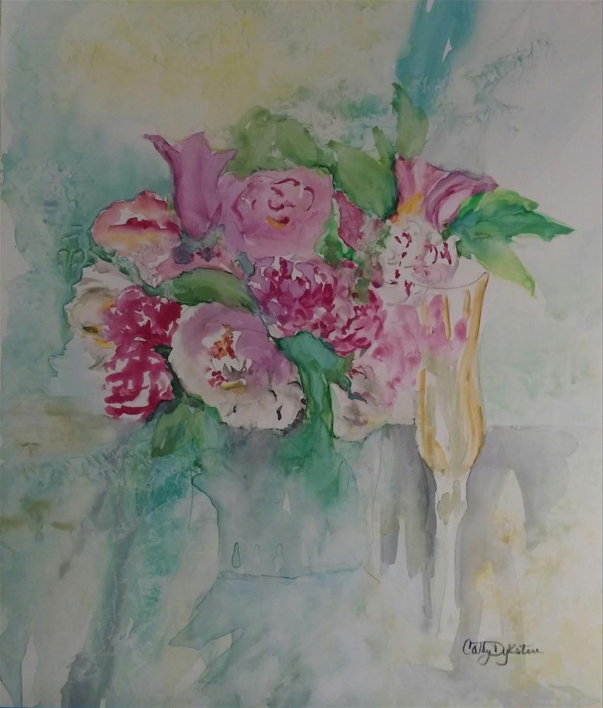"""Champagne and Flowers"" original fine art by Cathy Dykstra"