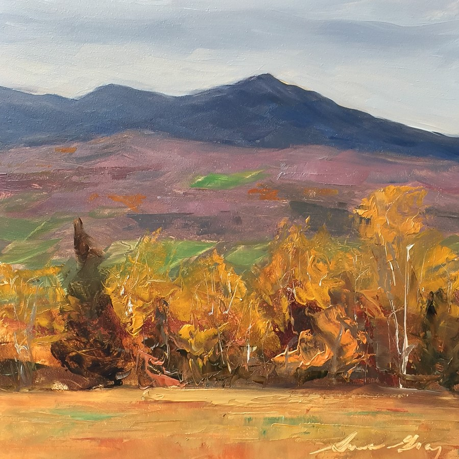 """#164 - Late Autumn-Sterling Mtn-from Stowe, VT"" original fine art by Sara Gray"