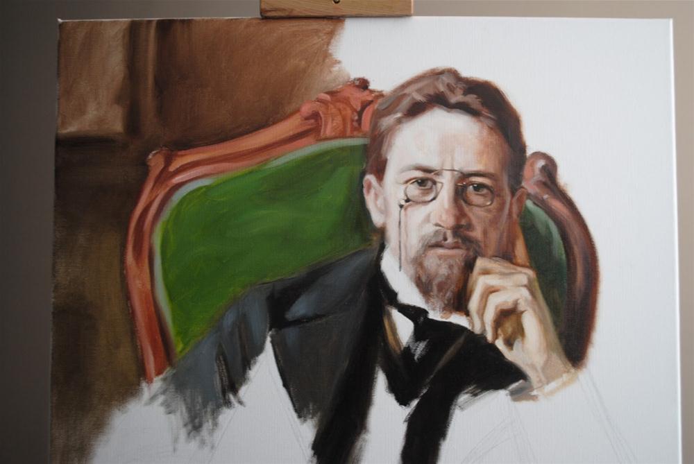 """""""Chekhov in Process"""" original fine art by Elena Katsyura"""