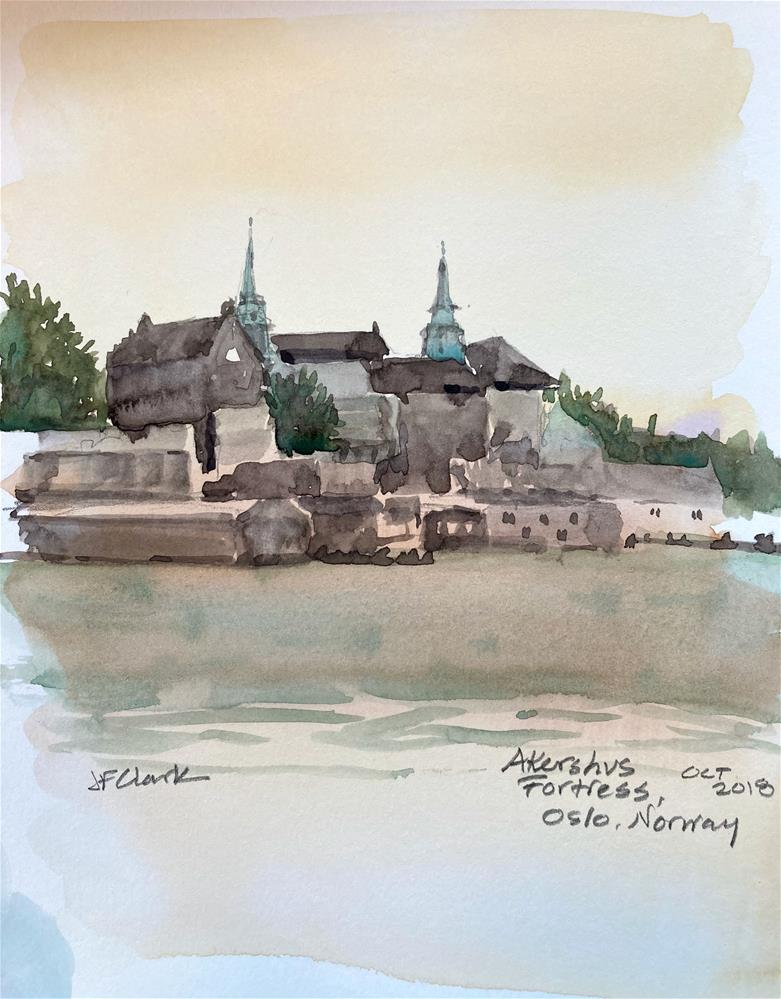 """Akershus Fortress, Oslo, Norway"" original fine art by Judith Freeman Clark"