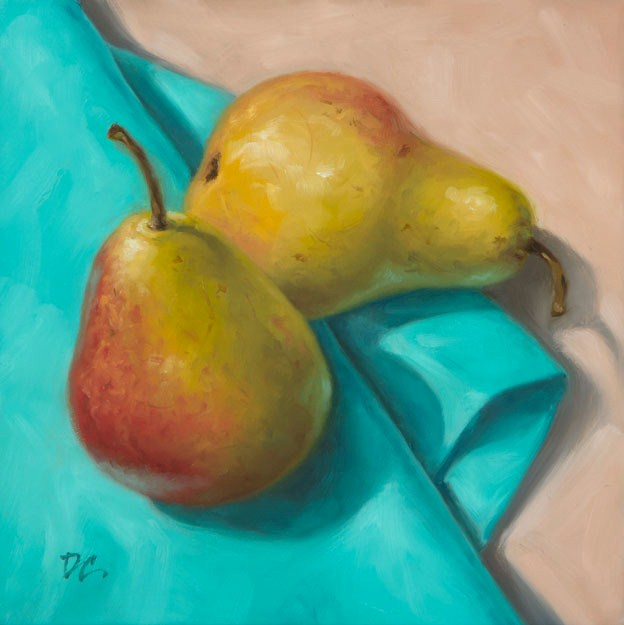 """Pears on Turquoise"" original fine art by David Capalungan"