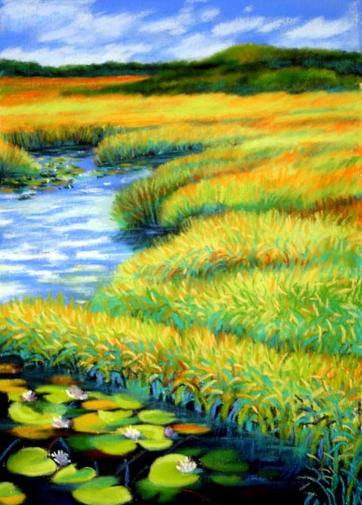 """Where the Lilies Grow"" original fine art by Jill Bates"