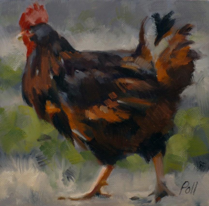 """Rooster Strut"" original fine art by Pamela Poll"