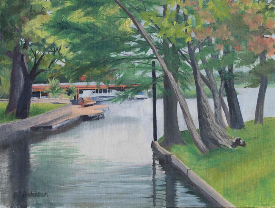 """Rainy day at Westlake Beach"" original fine art by Susan Andersen"