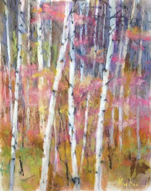 """""""Pink Berry Birches"""" original fine art by Katie Wilson"""
