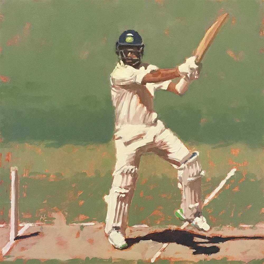 """CP ON STIKE, INDIA TEST, MCG"" original fine art by Helen Cooper"