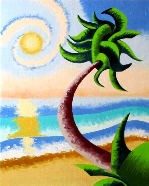 """Mark Webster - Abstract Geometric Palm Tree Ocean Landscape Oil Painting"" original fine art by Mark Webster"