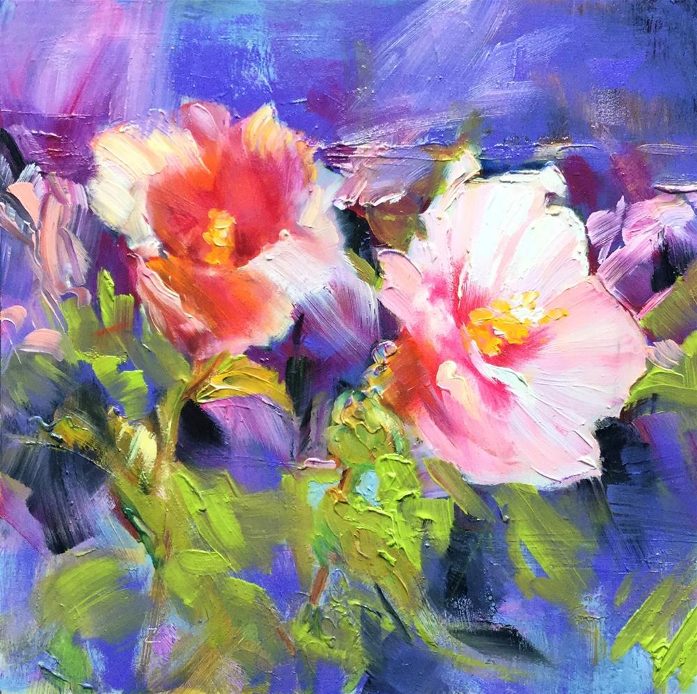"""""""Rose of Sharon with Purple"""" original fine art by Charlotte Fitzgerald"""