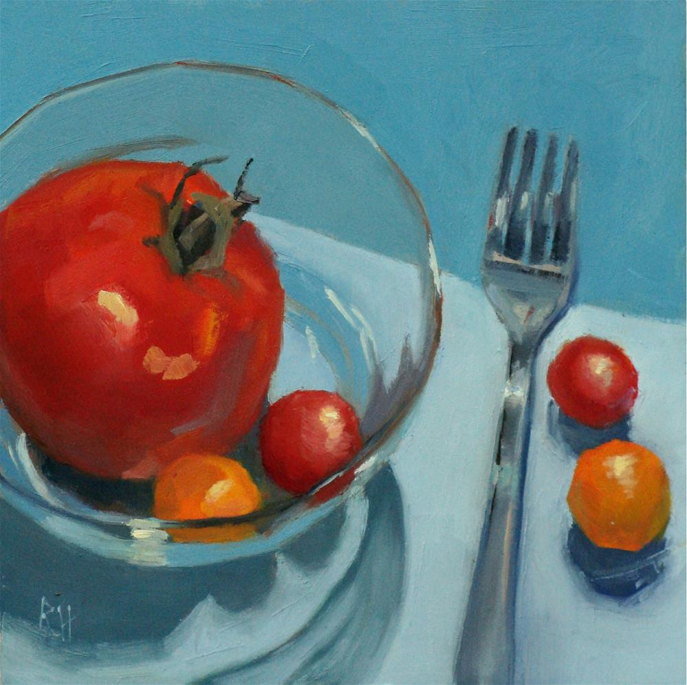 """""""Tomatos in Turquoise"""" original fine art by Rebecca Helton"""