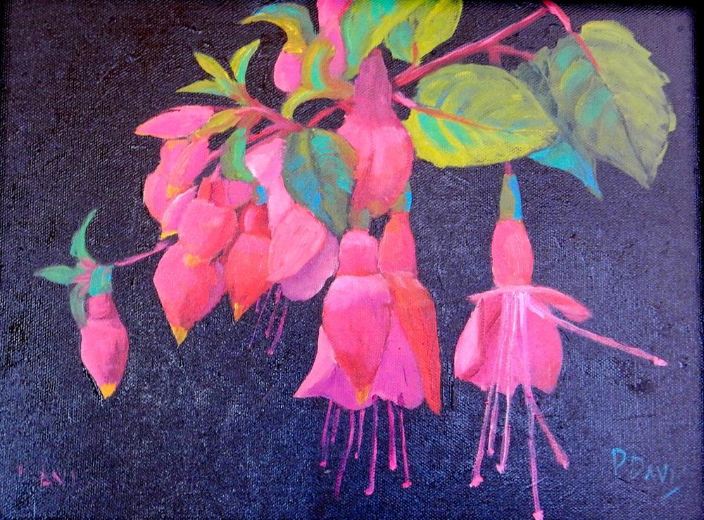 """Fuchsia on Black Canvas"" original fine art by Phyllis Davis"