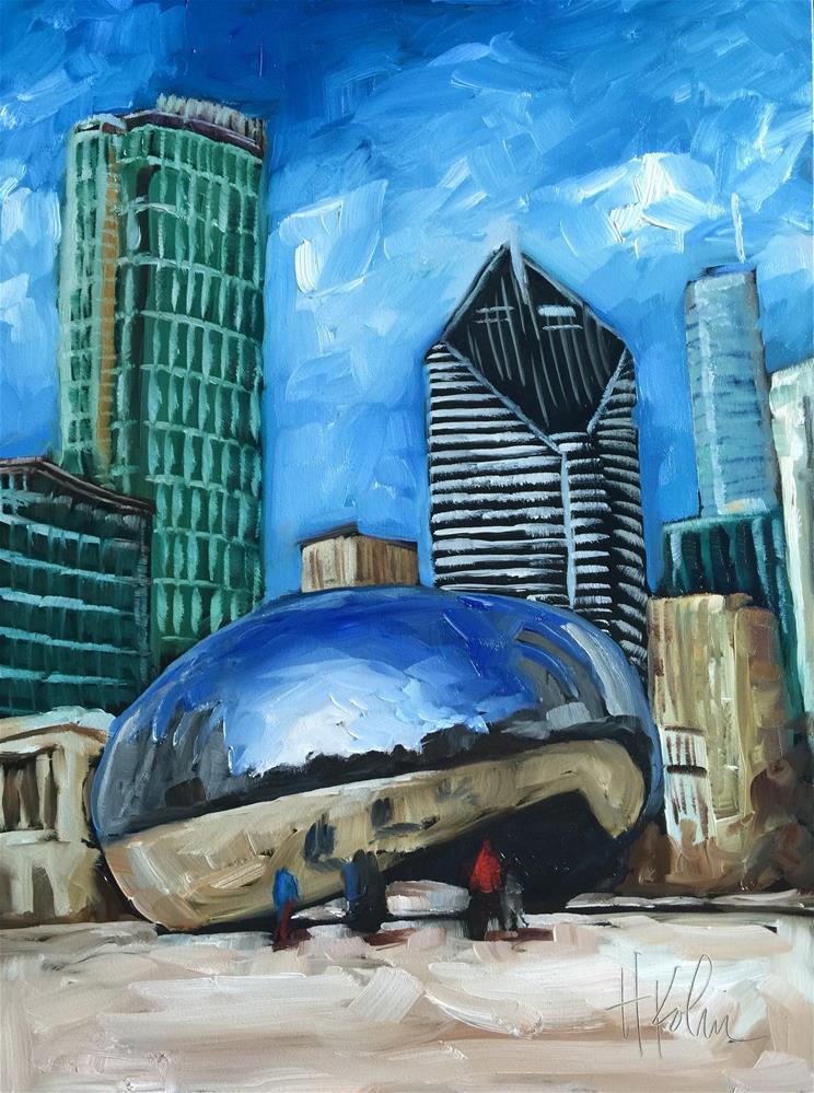 """Millennium Park -- The Bean"" original fine art by Hallie Kohn"