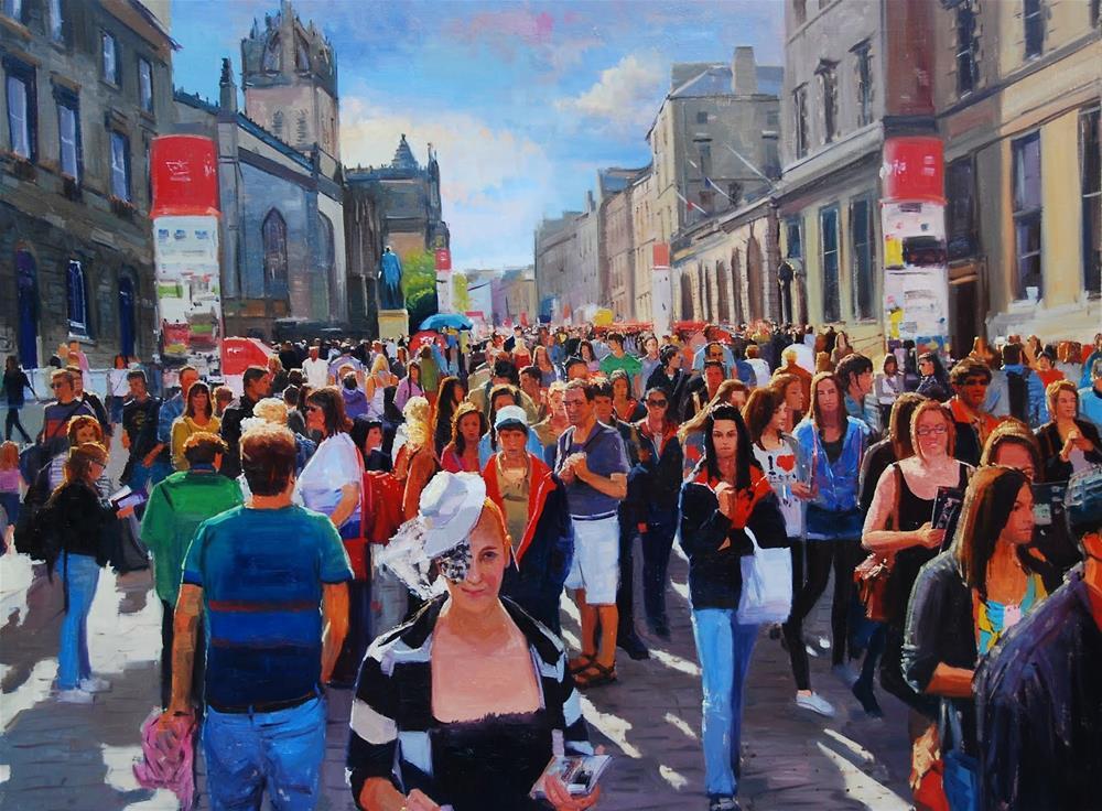 """""""THE FESTIVAL BEGINS (EDINBURGH FESTIVAL)"""" original fine art by Adebanji Alade"""