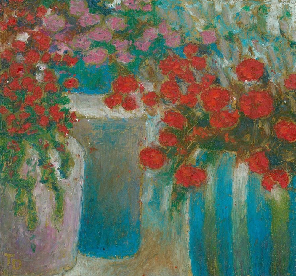 """345 FLOWERS STYLISED 12"" original fine art by Trevor Downes"