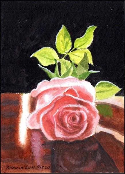 """One Pink Rose"" original fine art by Patricia Ann Rizzo"
