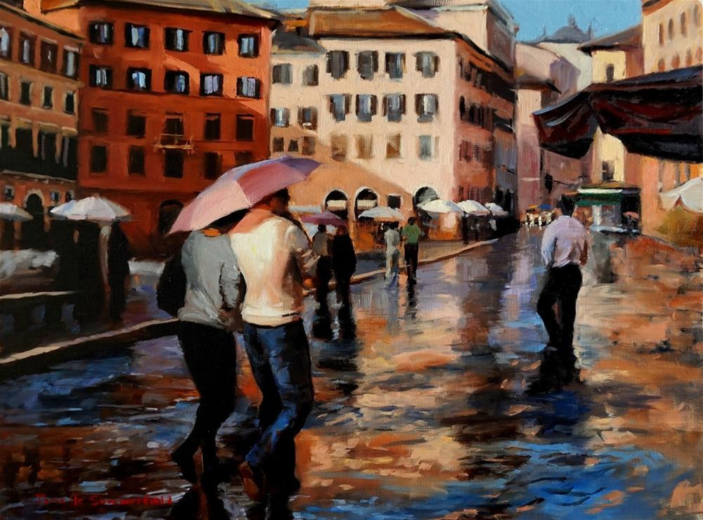 """Unpredictable Weather in the Piazza Navona"" original fine art by Jonelle Summerfield"