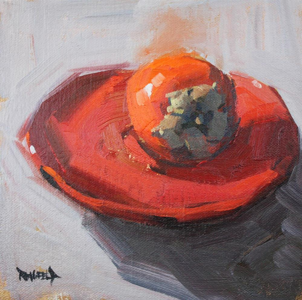 """""""Persimmon on a Red Plate"""" original fine art by Cathleen Rehfeld"""