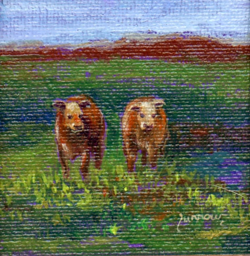 """Two Cows"" original fine art by Sue Furrow"