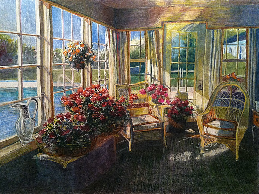 """""""Monotype: Winter Geraniums (when art is inspired by family photos)"""" original fine art by Belinda Del Pesco"""