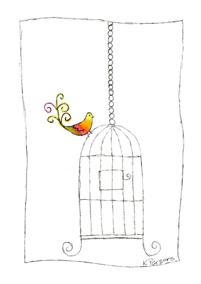 """1970s Retro Bird Cage"" original fine art by Kali Parsons"