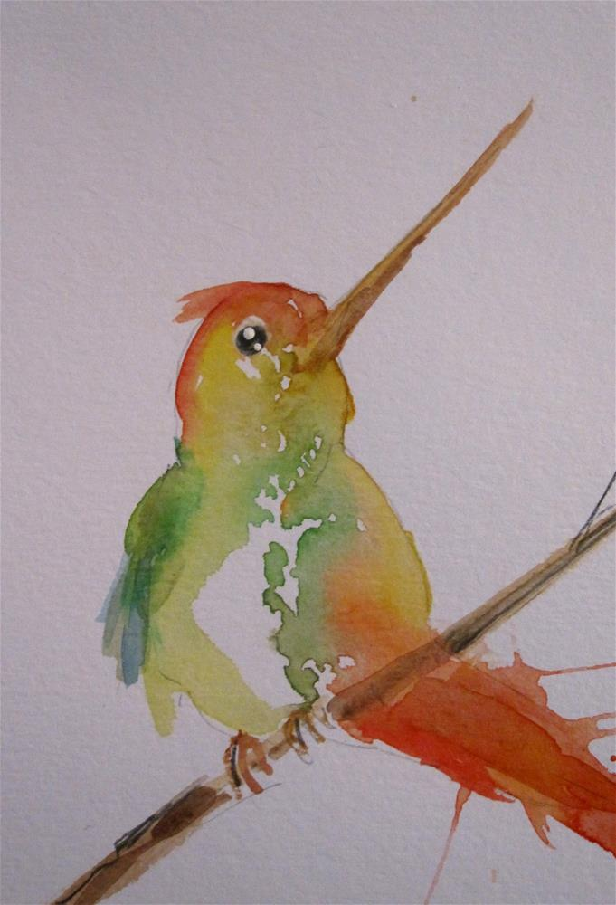 """Humming Bird on Branch"" original fine art by Delilah Smith"