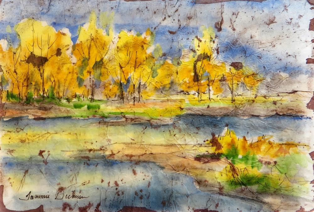 """Golden Reflections - Batik"" original fine art by Tammie Dickerson"