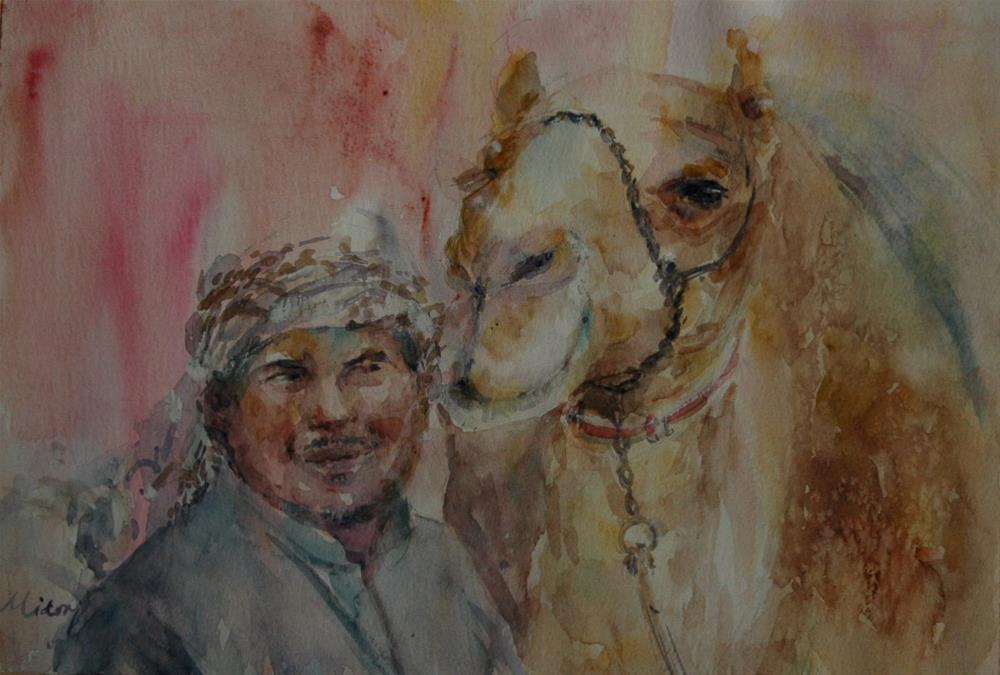 """Dubai Camel race track"" original fine art by Midori Yoshino"