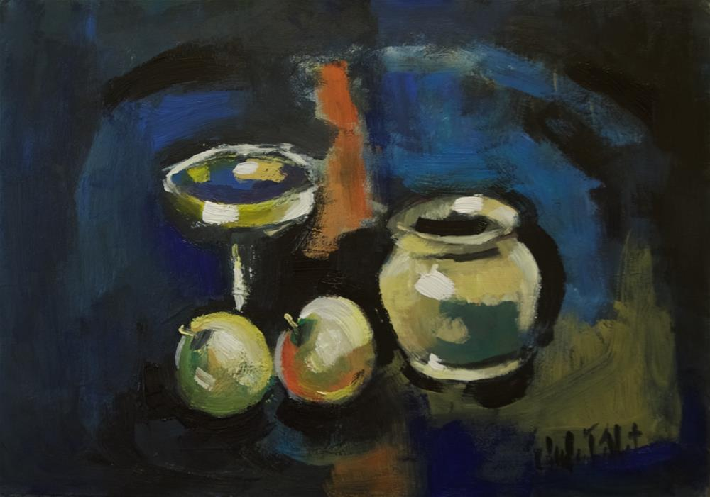 """""""Still Life with Fruit, Chalice and Bowl"""" original fine art by Andre Pallat"""