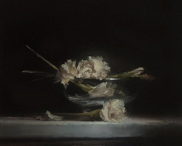 """""""Flowers in Glass Bowl"""" original fine art by Neil Carroll"""