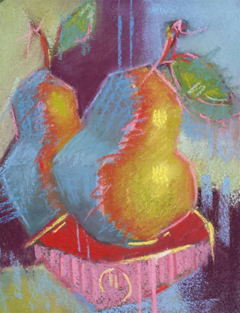 """""""Pears and Red Bowl"""" original fine art by Cindy Haase"""