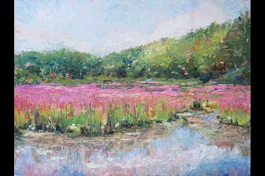 """""""Purple Pond,landscape,oil on canvas,9x12,price$400"""" original fine art by Joy Olney"""