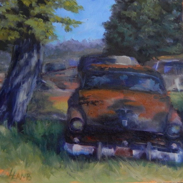 """""""Rusty Ride"""" original fine art by Lori Lamb"""