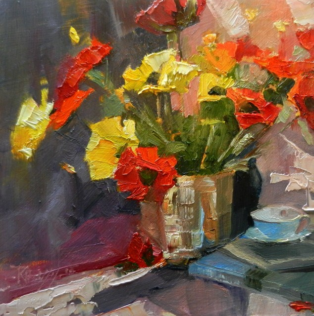 """Faux Flowers plein air still life painting by Robin Weiss"" original fine art by Robin Weiss"
